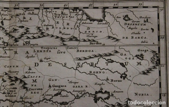 Arte: Mapa del occidente de África e Islas Canarias (España), 1656. Sanson - Foto 5 - 146776745