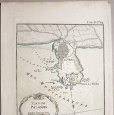 Arte: MAPA DEL PUERTO Y CIUDAD DE PALAMÓS (GERONA, CATALUÑA, ESPAÑA), 1764. BELLIN. Lote 147104277
