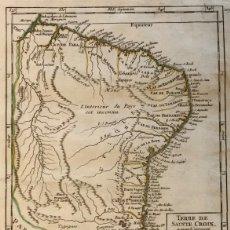 Arte: MAPA DE BRASIL, 1749. R. VAUGONDY. Lote 147581585