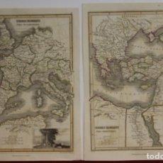 Arte: DOS MAPAS DEL IMPERIO ROMANO DE OCCIDENTE Y ORIENTE, CA. 1819. THOMSON. Lote 147685466