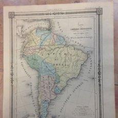 Arte: MAPA DE AMÉRICA DEL SUR, HACIA 1850. BARBIE DU BOCAGE/BASSET. Lote 147686242