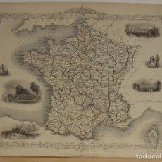 Arte: MAPA DE FRANCIA, 1851. TALLIS Y RAPKIN. Lote 147686456