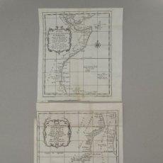 Arte: DOS MAPASW DEL LITORAL ORIENTAL DE ÁFRICA, 1780. BELLIN. Lote 147687234