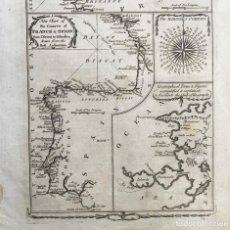 Arte: MAPA DE ESPAÑA, PORTUGAL Y OESTE DE FRANCIA, HIACIA 1782. GEORGE MILLAR. Lote 147690973