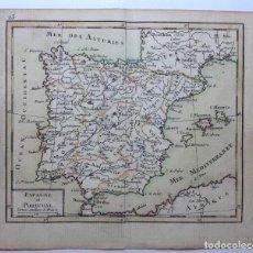 Arte: CIRCA 1750´S * DIMINUTO MAPA DE ESPAÑA * 14 CM X 12 CM. Lote 147738650