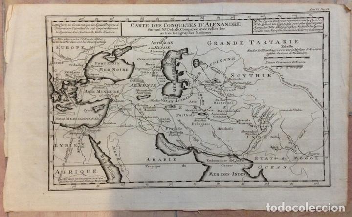 MAPA DE LAS CONQUISTAS DE ALEJANDRO MAGNO (EUROPA, ÁFRICA Y ASIA), CA. 1770. DELISLE (Arte - Cartografía Antigua (hasta S. XIX))