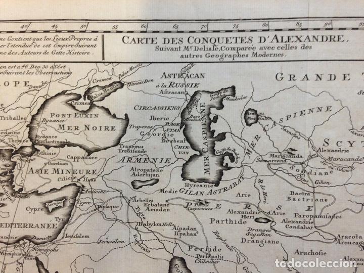 Arte: Mapa de las conquistas de Alejandro Magno (Europa, África y Asia), ca. 1770. Delisle - Foto 2 - 147921408