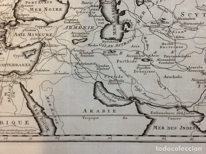 Arte: Mapa de las conquistas de Alejandro Magno (Europa, África y Asia), ca. 1770. Delisle - Foto 3 - 147921408
