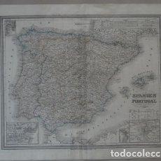 Arte: GRAN MAPA DE ESPAÑA Y PORTUGAL, 1848. WIELAND. Lote 148006069