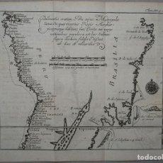 Arte: MAPA DEL LITORAL DE PERÚ Y BRASIL (AMÉRICA DEL SUR), 1702. DE RENNEVILLE. Lote 148061862