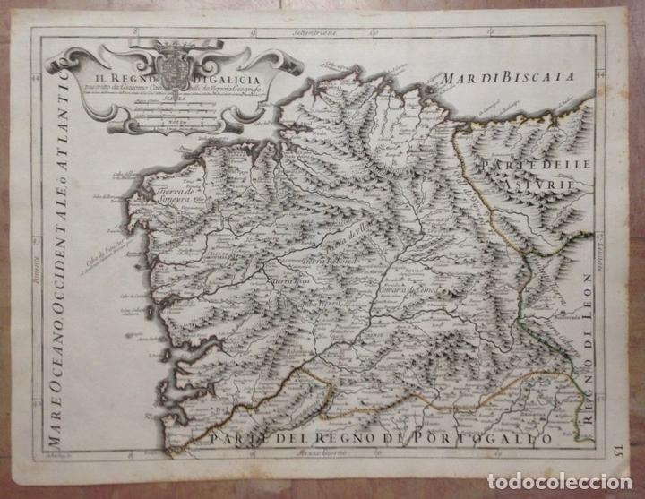 GRAN MAPA DE GALICIA Y ASTURIAS (ESPAÑA), 1696. ROSSI/CANTELLI/BARBEY (Arte - Cartografía Antigua (hasta S. XIX))
