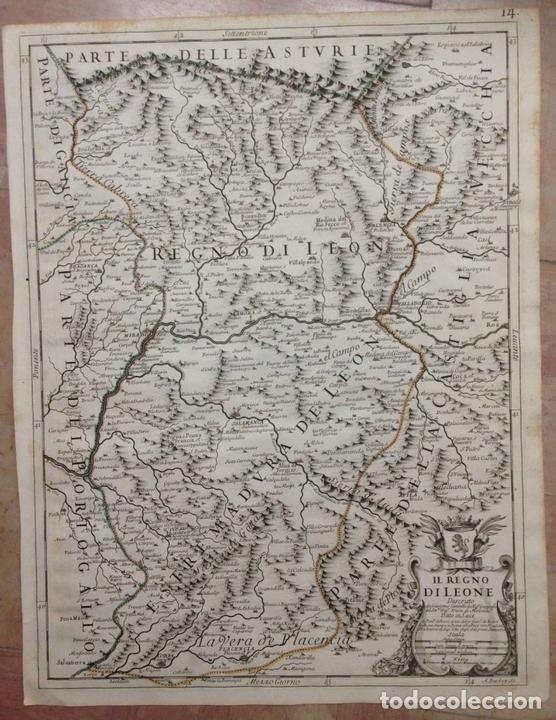 GRAN MAPA DE LEÓN (ESPAÑA, 1696. ROSSI/CANTELLI/BARBEY (Arte - Cartografía Antigua (hasta S. XIX))