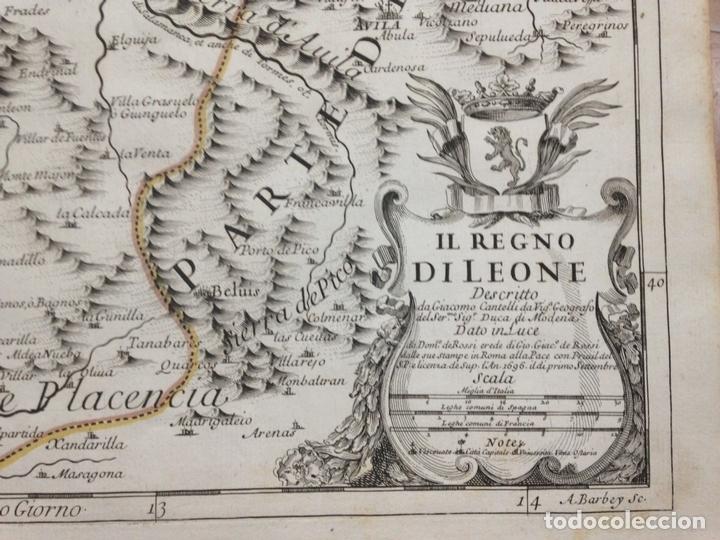 Arte: Gran mapa de León (España, 1696. Rossi/Cantelli/Barbey - Foto 2 - 148221234