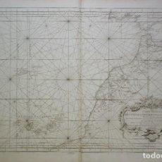 Arte: CARTA MARINA DE LAS ISLAS CANARIAS Y PARTE DE LA COSTA DE ÁFRICA DEL SIGLO XVIII. Lote 148285622