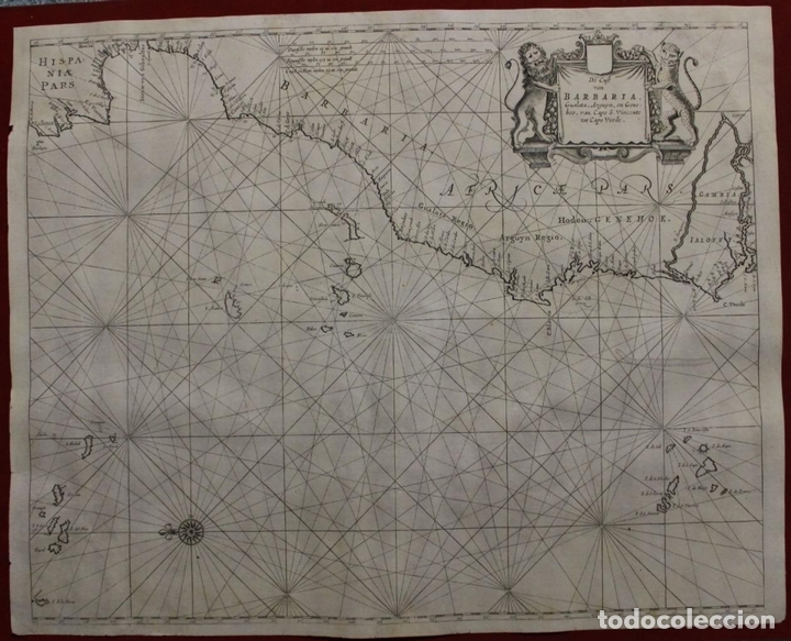 GRAN MAPA ISLAS DE CABO VERDE, CANARIAS (ESPAÑA), MADEIRA Y AZORES (PORTUGAL) , 1666. PIETER GOOS (Arte - Cartografía Antigua (hasta S. XIX))