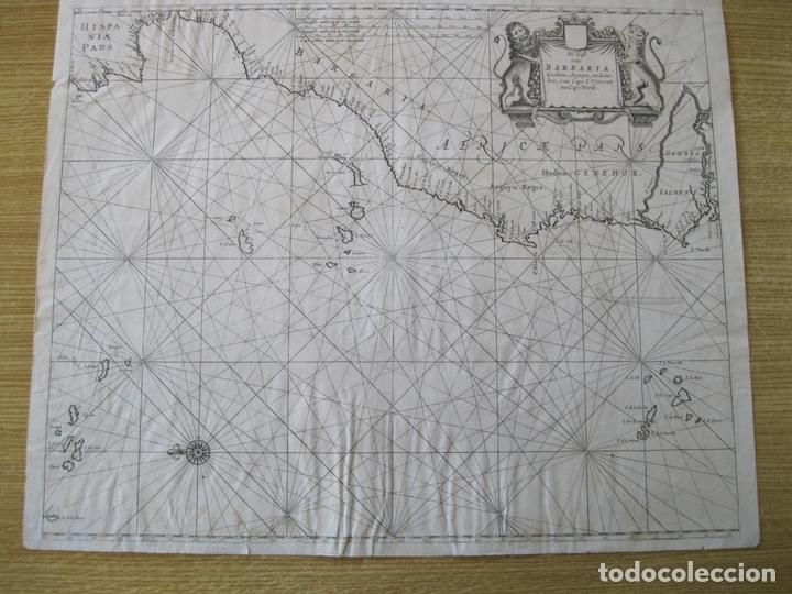 Arte: Gran mapa islas de Cabo Verde, Canarias (España), Madeira y Azores (Portugal) , 1666. Pieter Goos - Foto 2 - 148572826
