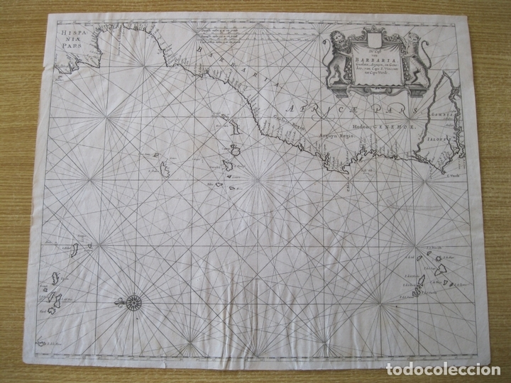 Arte: Gran mapa islas de Cabo Verde, Canarias (España), Madeira y Azores (Portugal) , 1666. Pieter Goos - Foto 3 - 148572826