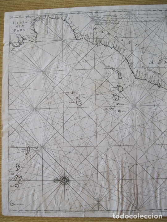 Arte: Gran mapa islas de Cabo Verde, Canarias (España), Madeira y Azores (Portugal) , 1666. Pieter Goos - Foto 4 - 148572826