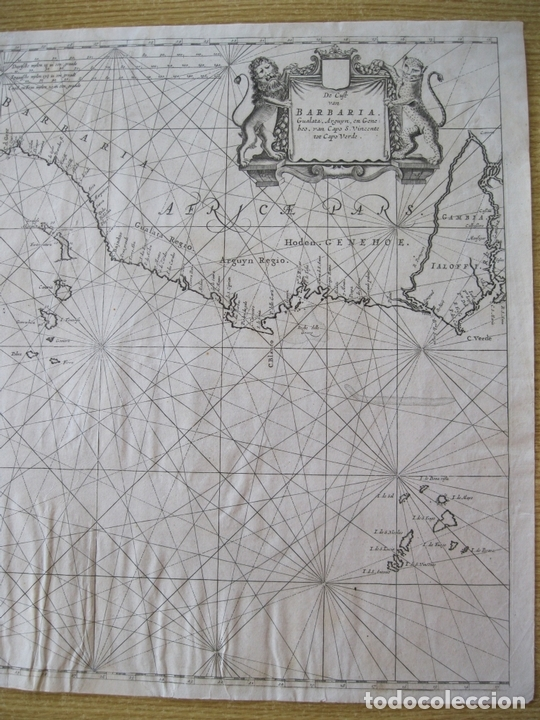 Arte: Gran mapa islas de Cabo Verde, Canarias (España), Madeira y Azores (Portugal) , 1666. Pieter Goos - Foto 5 - 148572826