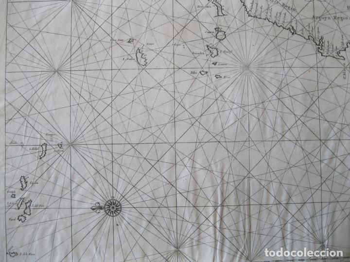 Arte: Gran mapa islas de Cabo Verde, Canarias (España), Madeira y Azores (Portugal) , 1666. Pieter Goos - Foto 6 - 148572826