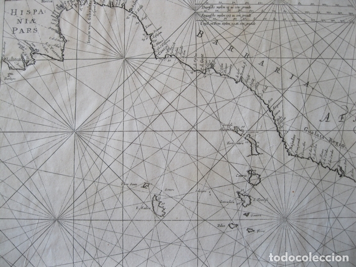 Arte: Gran mapa islas de Cabo Verde, Canarias (España), Madeira y Azores (Portugal) , 1666. Pieter Goos - Foto 7 - 148572826