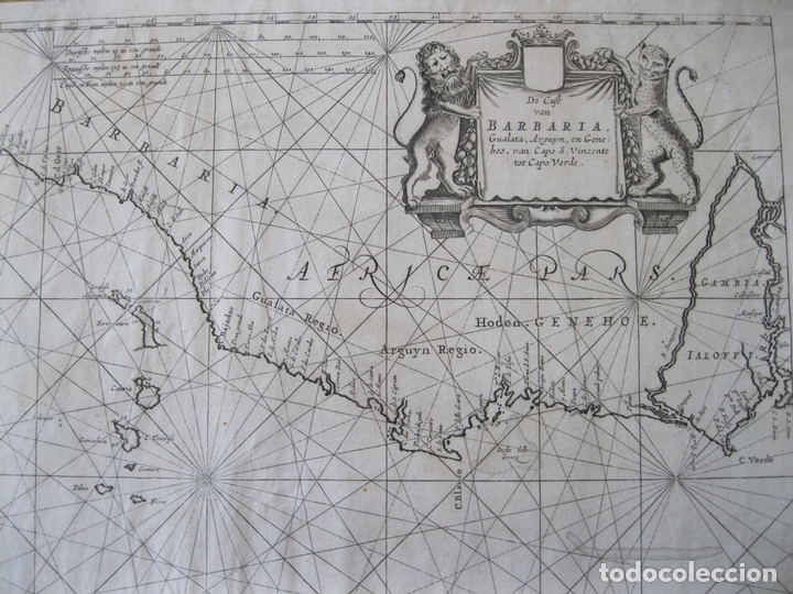 Arte: Gran mapa islas de Cabo Verde, Canarias (España), Madeira y Azores (Portugal) , 1666. Pieter Goos - Foto 8 - 148572826
