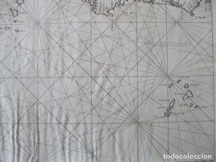 Arte: Gran mapa islas de Cabo Verde, Canarias (España), Madeira y Azores (Portugal) , 1666. Pieter Goos - Foto 9 - 148572826
