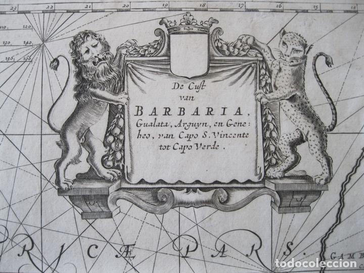 Arte: Gran mapa islas de Cabo Verde, Canarias (España), Madeira y Azores (Portugal) , 1666. Pieter Goos - Foto 10 - 148572826