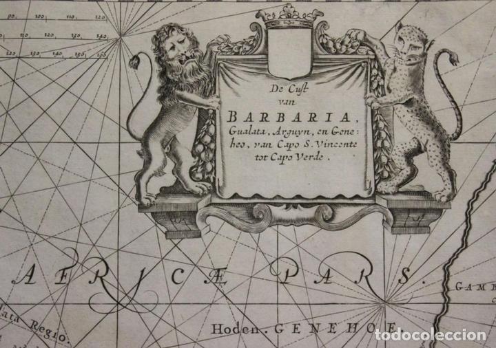 Arte: Gran mapa islas de Cabo Verde, Canarias (España), Madeira y Azores (Portugal) , 1666. Pieter Goos - Foto 12 - 148572826