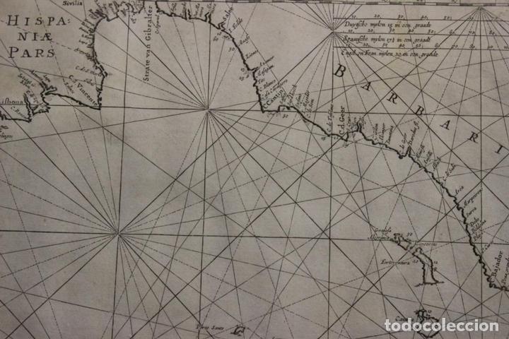 Arte: Gran mapa islas de Cabo Verde, Canarias (España), Madeira y Azores (Portugal) , 1666. Pieter Goos - Foto 13 - 148572826