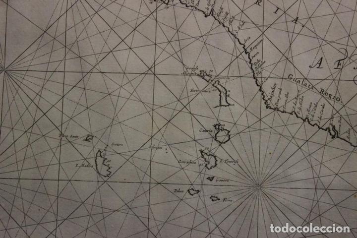Arte: Gran mapa islas de Cabo Verde, Canarias (España), Madeira y Azores (Portugal) , 1666. Pieter Goos - Foto 14 - 148572826