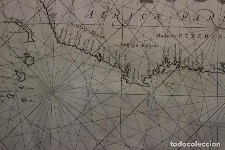Arte: Gran mapa islas de Cabo Verde, Canarias (España), Madeira y Azores (Portugal) , 1666. Pieter Goos - Foto 15 - 148572826