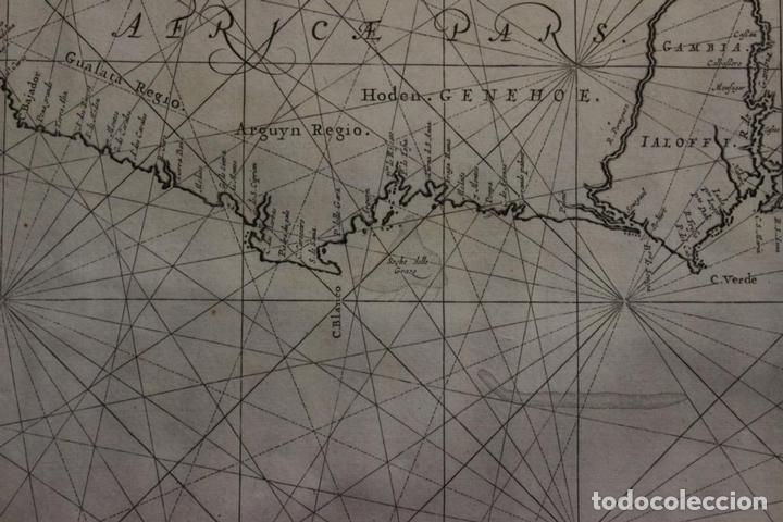 Arte: Gran mapa islas de Cabo Verde, Canarias (España), Madeira y Azores (Portugal) , 1666. Pieter Goos - Foto 16 - 148572826