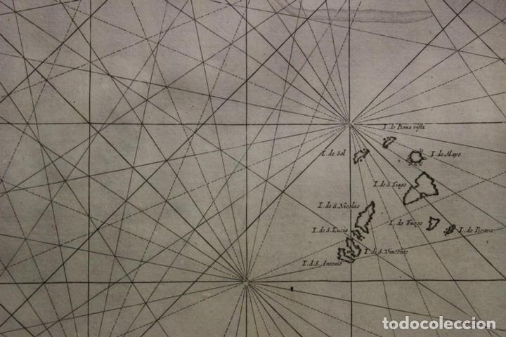 Arte: Gran mapa islas de Cabo Verde, Canarias (España), Madeira y Azores (Portugal) , 1666. Pieter Goos - Foto 18 - 148572826