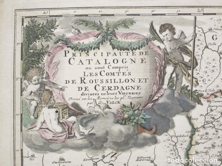 Arte: Gran mapa de Cataluña (España), hacia 1700. G. Valck - Foto 2 - 148614144