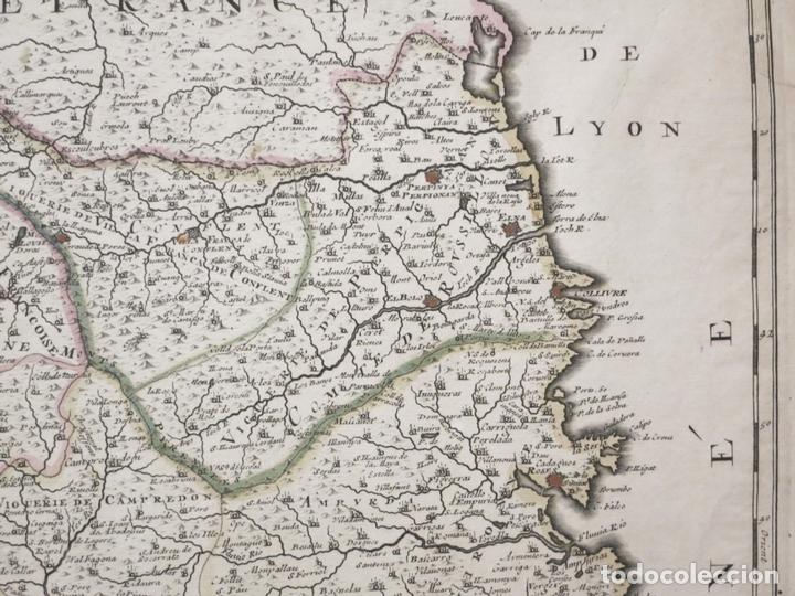 Arte: Gran mapa de Cataluña (España), hacia 1700. G. Valck - Foto 3 - 148614144