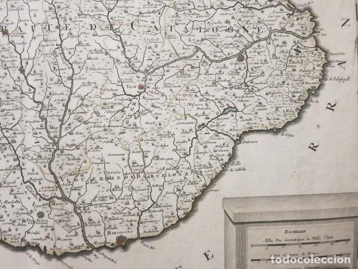 Arte: Gran mapa de Cataluña (España), hacia 1700. G. Valck - Foto 4 - 148614144