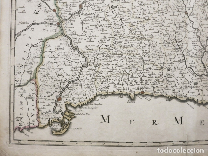 Arte: Gran mapa de Cataluña (España), hacia 1700. G. Valck - Foto 5 - 148614144