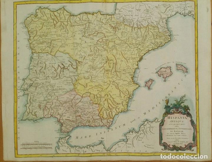 GRAN MAPA DE ESPAÑA Y PORTUGAL EN ÉPOCA ROMANA (HISPANIA ANTIQUA), 1750. SANSON/ VAUGONDY (Arte - Cartografía Antigua (hasta S. XIX))
