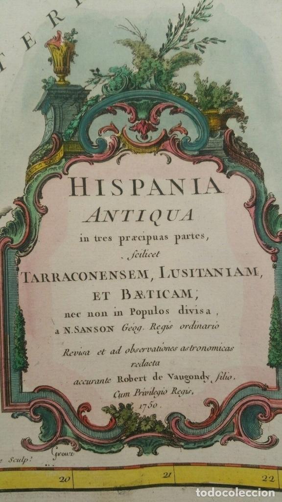 Arte: Gran mapa de España y Portugal en época romana (Hispania antiqua), 1750. Sanson/ Vaugondy - Foto 2 - 148621420