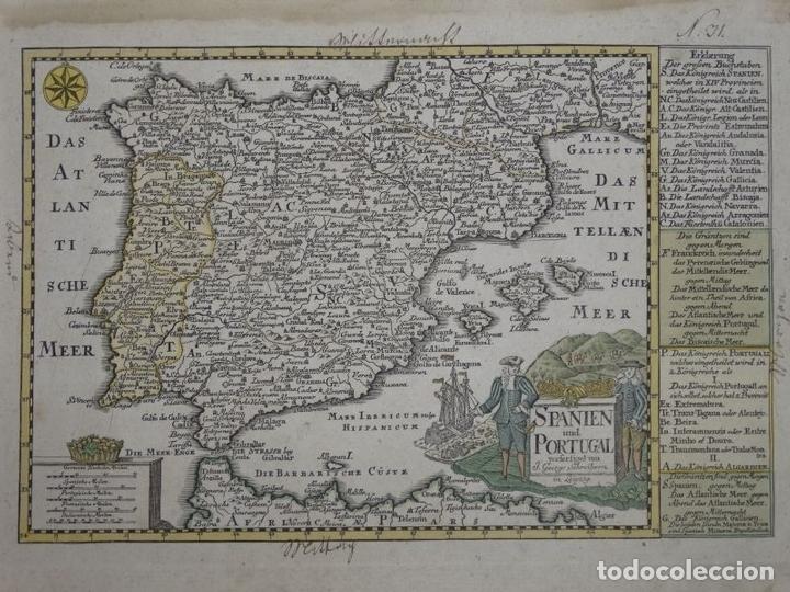 MAPA DE ESPAÑA Y PORTUGAL, 1720. SCHREIBER (Arte - Cartografía Antigua (hasta S. XIX))