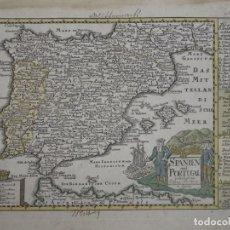 Arte: MAPA DE ESPAÑA Y PORTUGAL, 1720. SCHREIBER. Lote 149394785