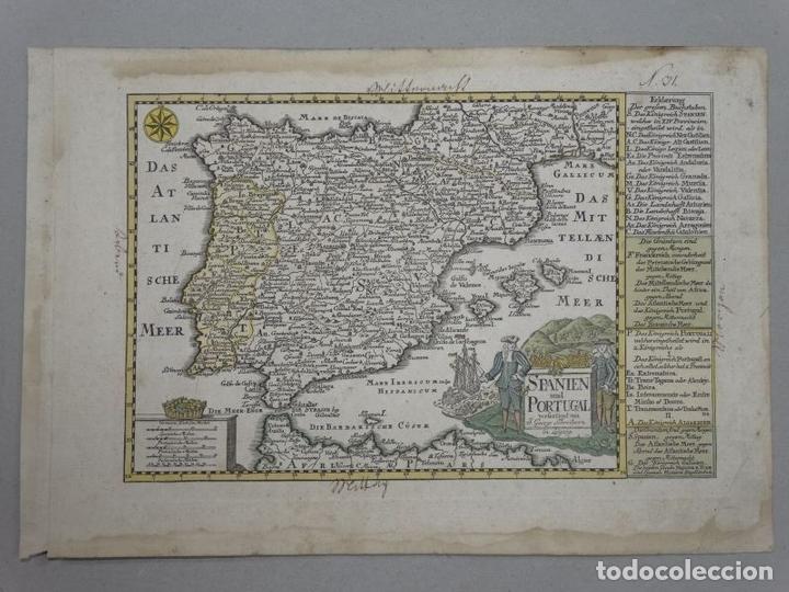 Arte: Mapa de España y Portugal, 1720. Schreiber - Foto 2 - 149394785