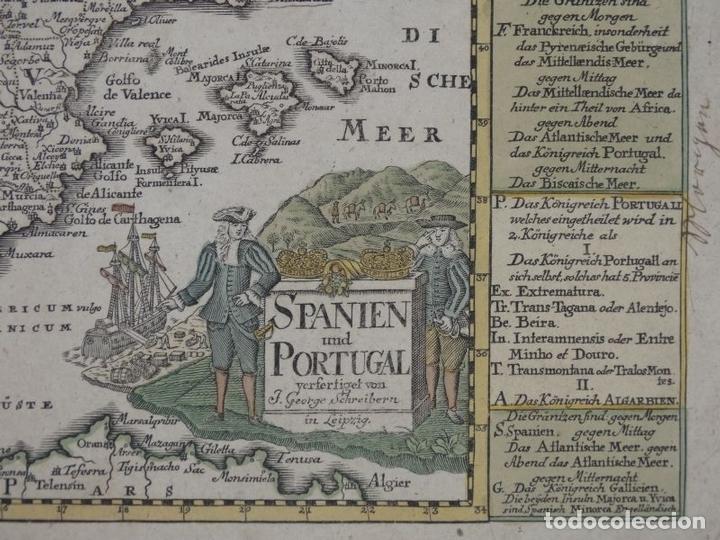Arte: Mapa de España y Portugal, 1720. Schreiber - Foto 3 - 149394785