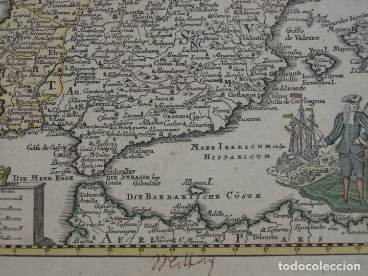Arte: Mapa de España y Portugal, 1720. Schreiber - Foto 4 - 149394785