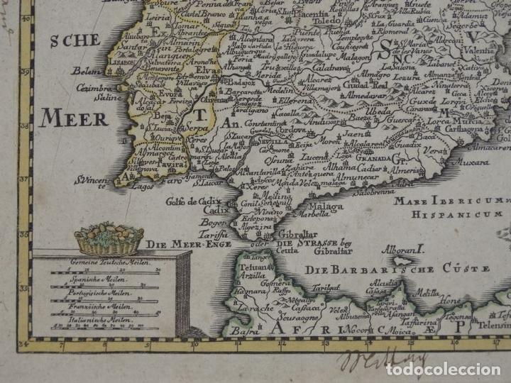 Arte: Mapa de España y Portugal, 1720. Schreiber - Foto 5 - 149394785