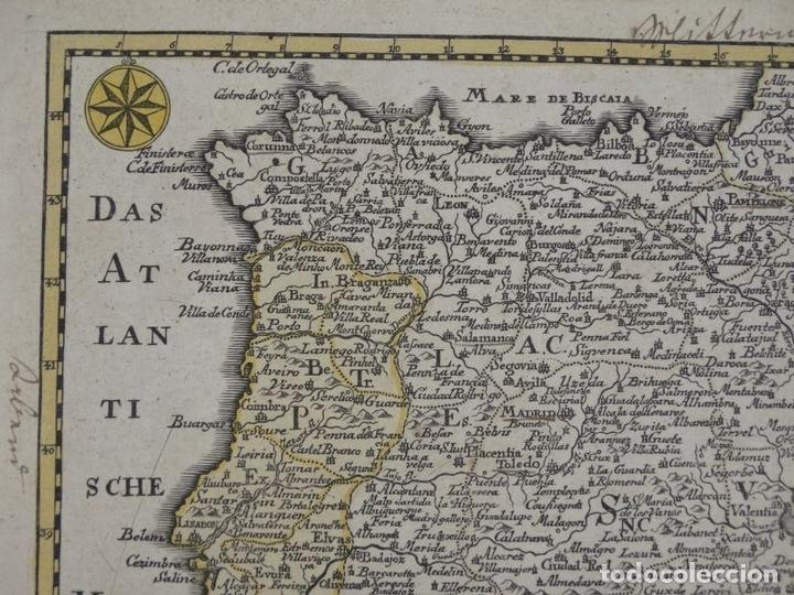 Arte: Mapa de España y Portugal, 1720. Schreiber - Foto 6 - 149394785