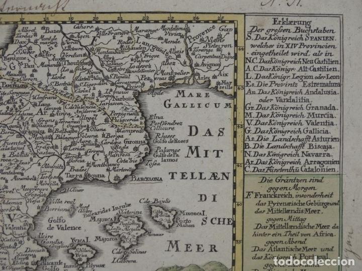 Arte: Mapa de España y Portugal, 1720. Schreiber - Foto 8 - 149394785