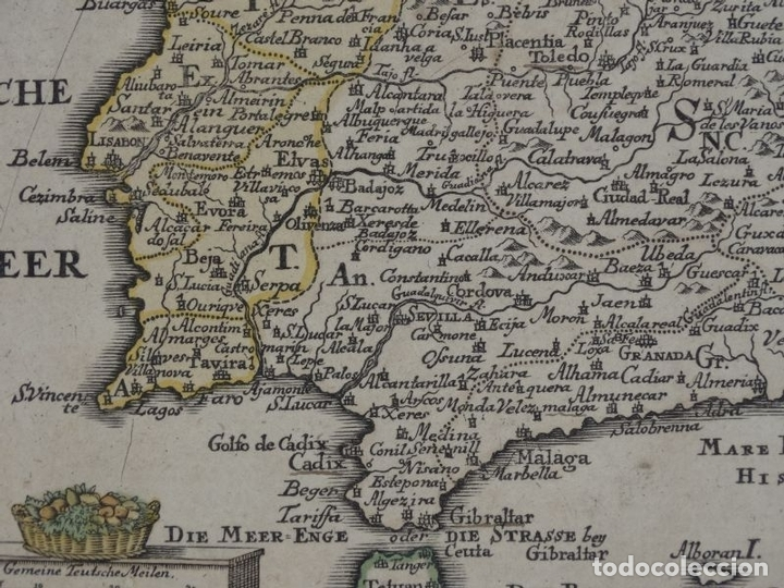 Arte: Mapa de España y Portugal, 1720. Schreiber - Foto 11 - 149394785