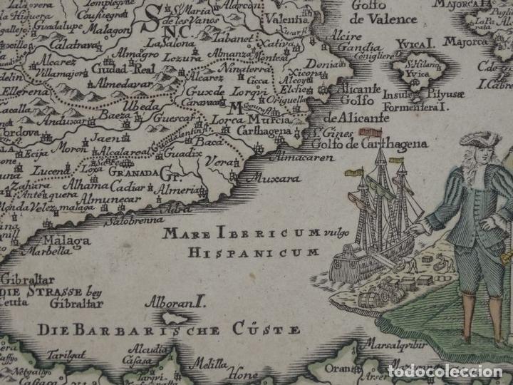Arte: Mapa de España y Portugal, 1720. Schreiber - Foto 12 - 149394785